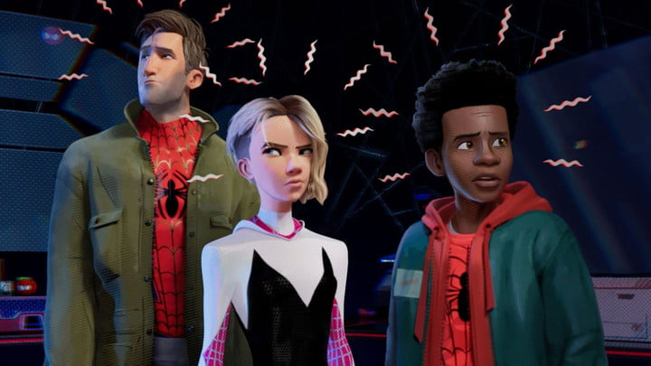 Peter Parker, Gwen Stacy, and Miles Morales in Spider-Man: Into the Spider-Verse