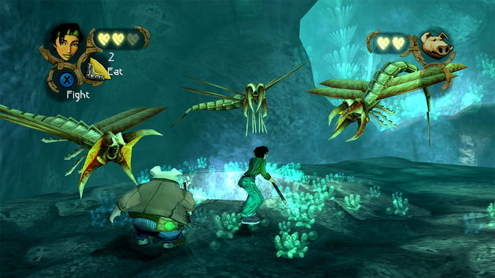 The player fights giant bug creatures in Beyond Good and Evil.