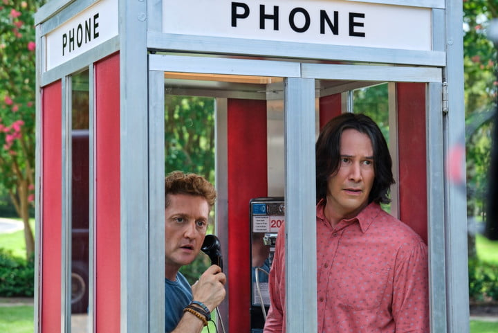 Alex Winter and Keanu Reeves in a phone booth in a scene from the movie Bill & Ted Face the Music.