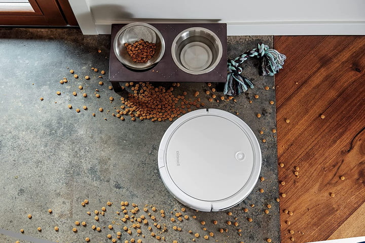 The Bissell SpinWave cleaning spilled pet food.