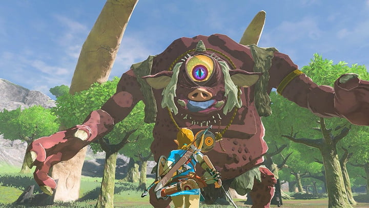Link going up against a monster in The Legend of Zelda: Breath of the Wild.