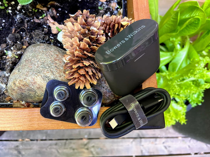 Bowers & Wilkins PI5 true wireless earbuds and accessories.