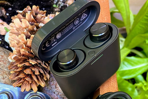 Bowers & Wilkins PI5 true wireless earbuds in their charging case.