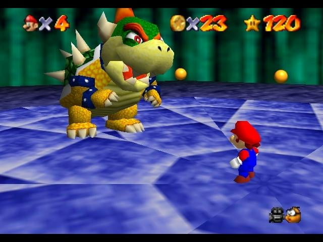 Mario and Bowser about to fight on a blue circle.