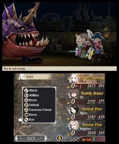 Fighting a monster on a boat in Bravely Default.