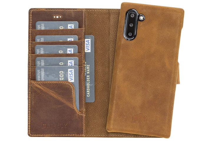 Photo shows a Samsung Galaxy Note 10 phone in a golden brown leather wallet case from Burkley