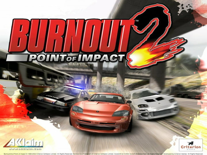 Three cars racing side-by-side in Burnout 2: Point of Impact.