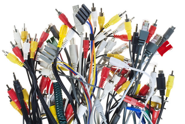 A collection of different coaxial and power cables.