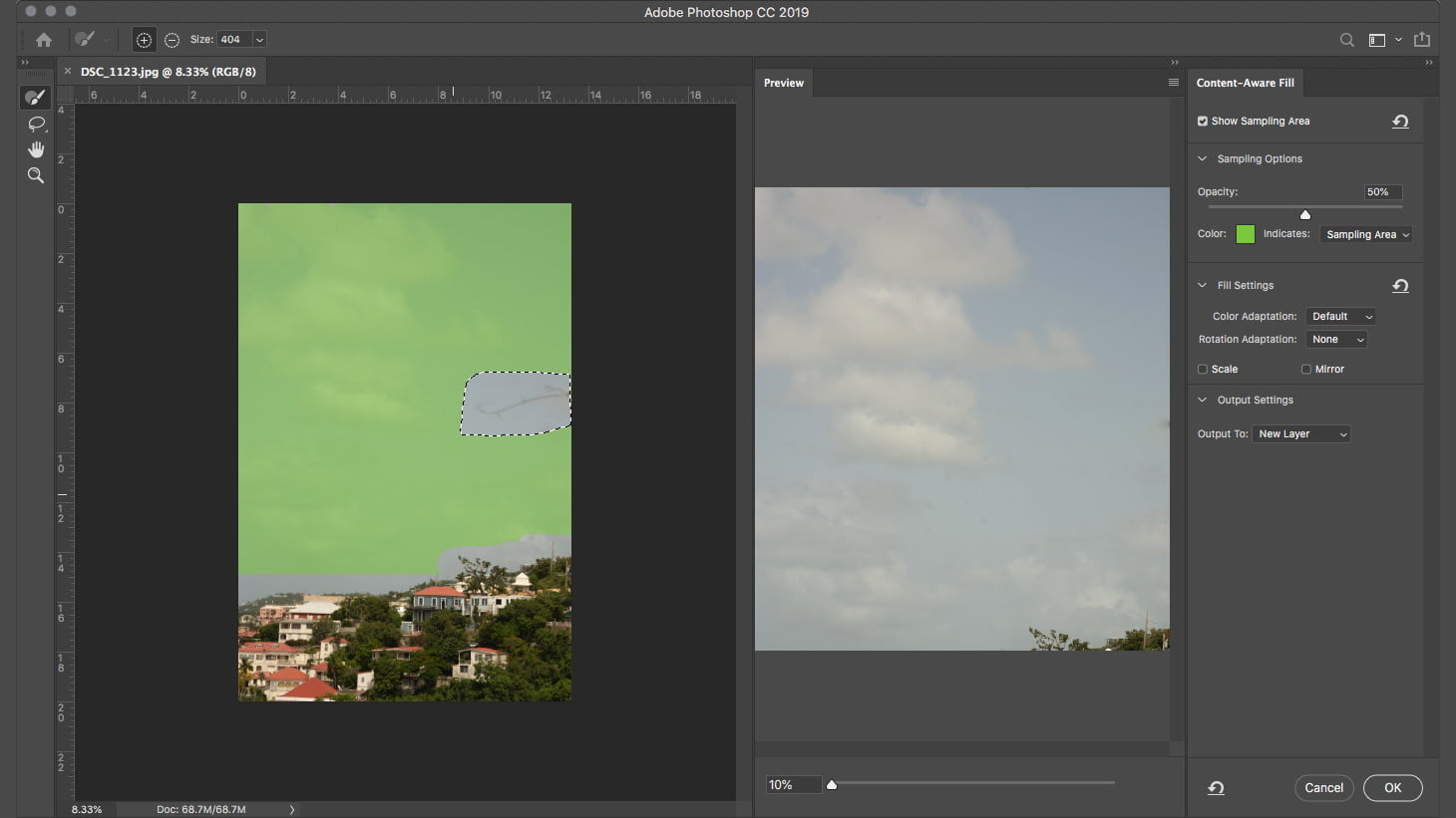 how to remove an object in photoshop content aware fill cafgreenarea