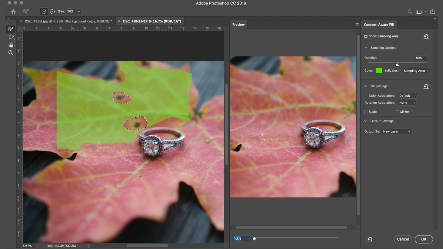 how to remove an object in photoshop content aware fill cafgreenselectionleaf