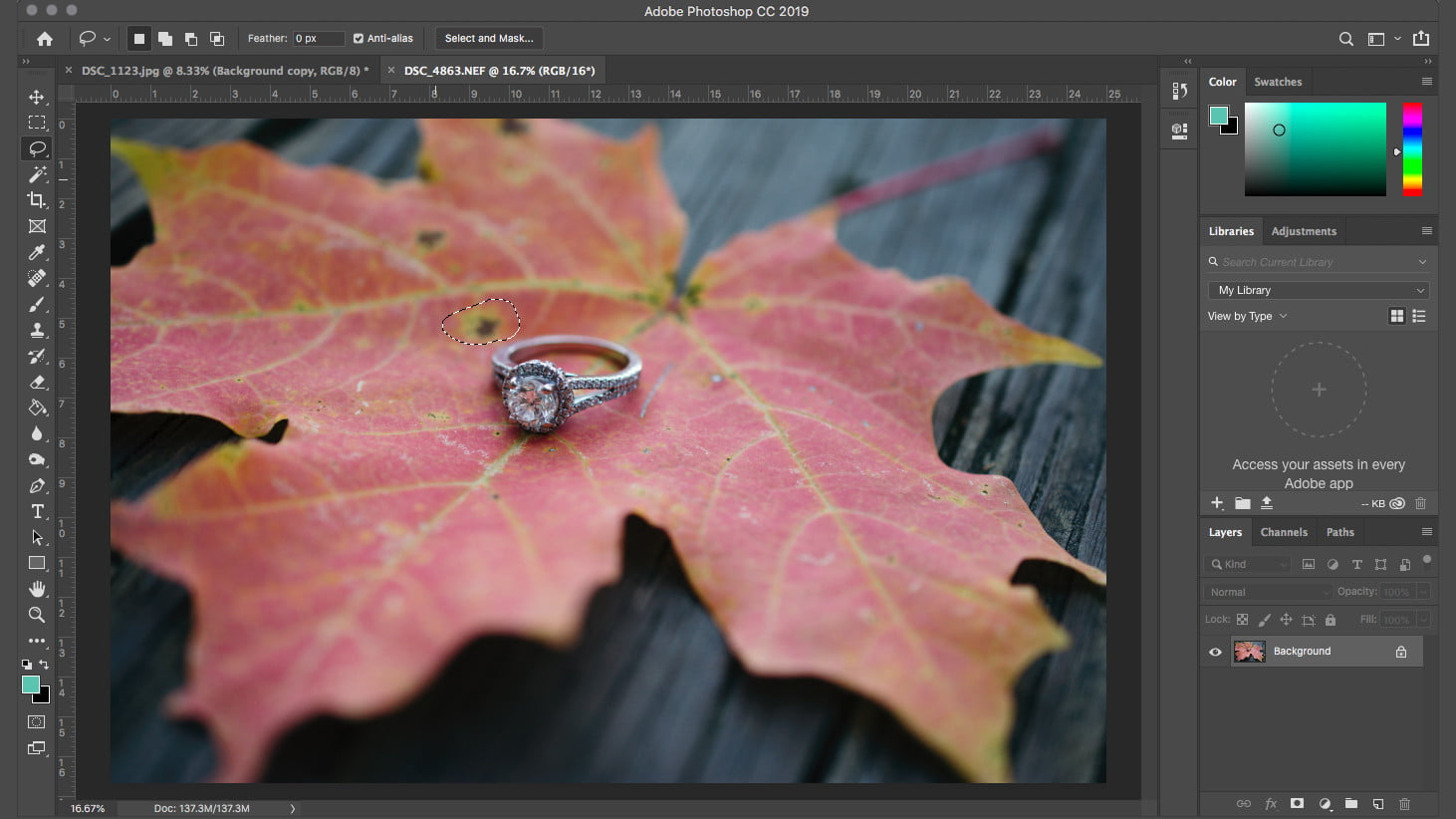 how to remove an object in photoshop content aware fill cafselectionleaf