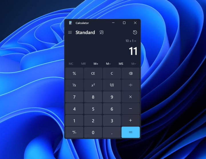 The new version of the Calculator app in Windows 11.