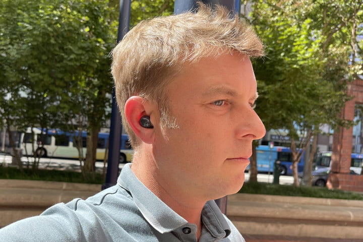 Closeup view of Caleb Denison wearing the Samsung Galaxy Buds 2.
