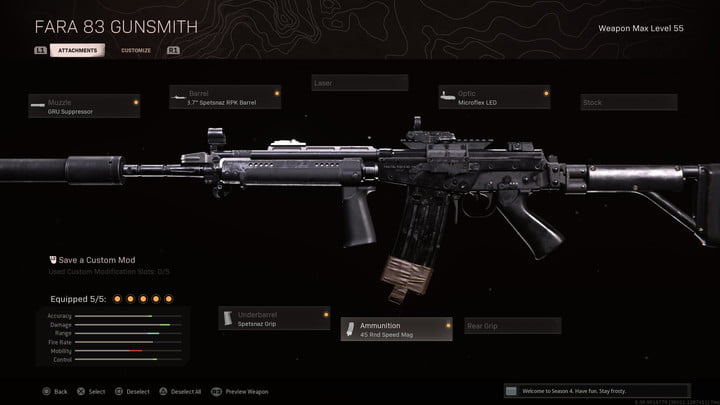 The FARA 83 assault rifle in Call of Duty: Warzone.