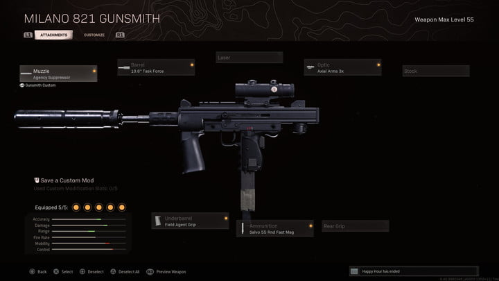 The Milano 821 in Call of Duty: Warzone.