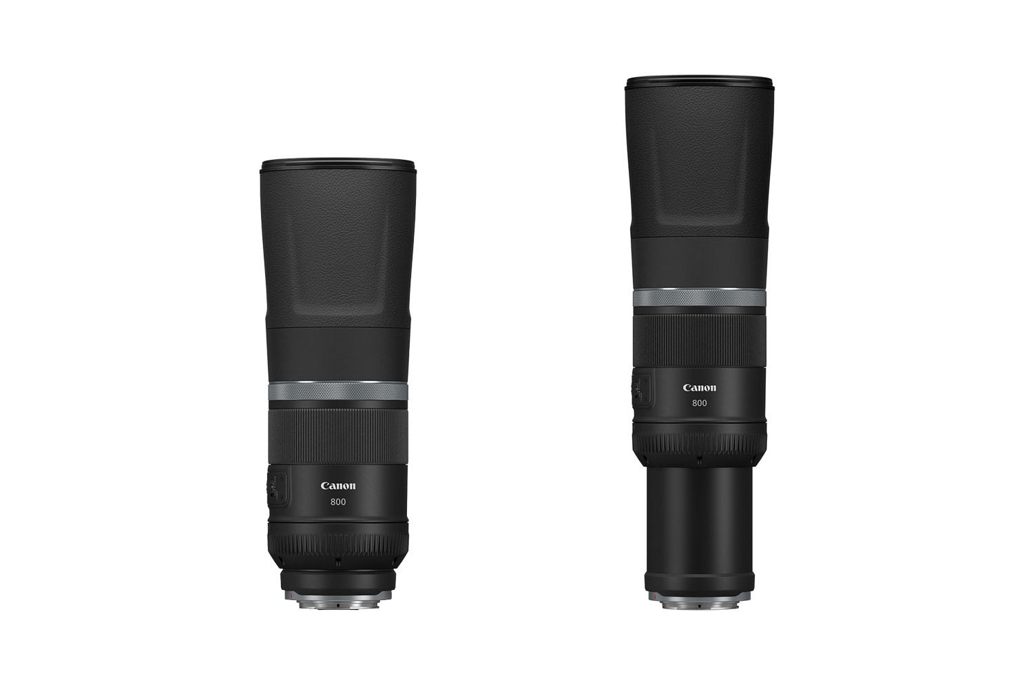 Canon RF 800mm f/11 retracted and extended on white background