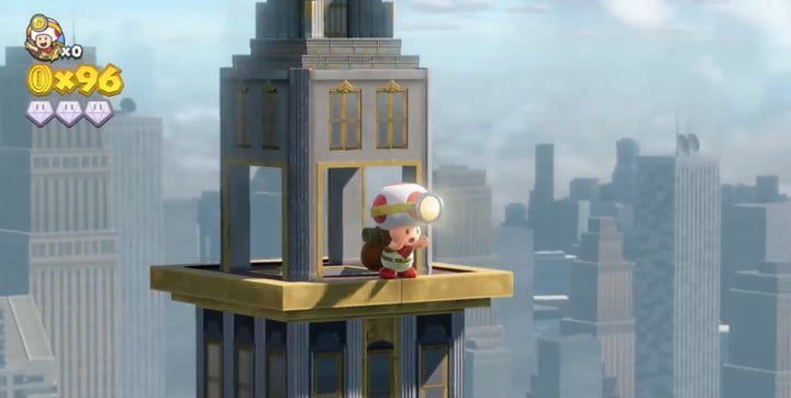 Captain toad shouting from a rooftop.