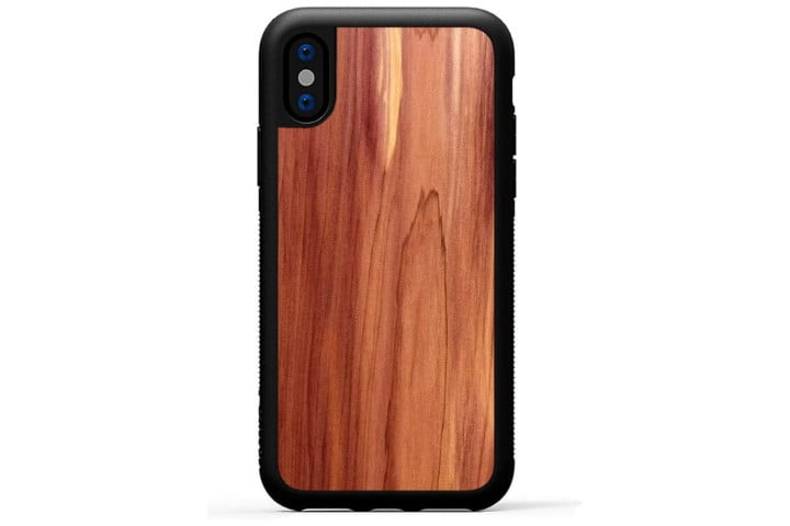 Photo shows the rear view of an iPhone XS in a red cedar wood case from Carved