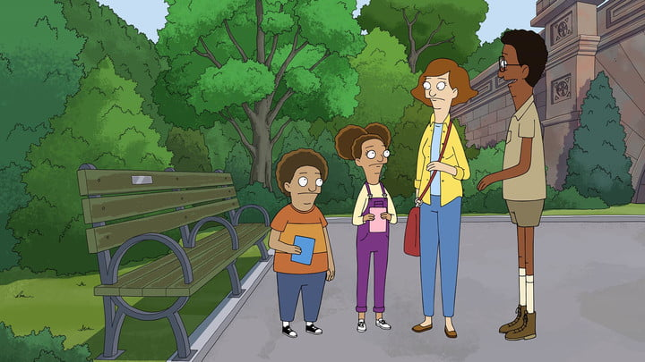 A family standing in the park on Apple TV+'s Central Park, season 2.