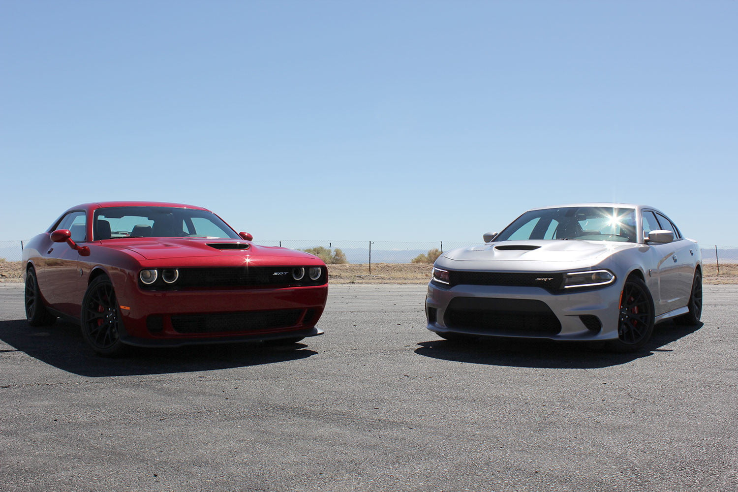 2015 dodge charger challenger srt hellcats track review and hellcat on fronts 2