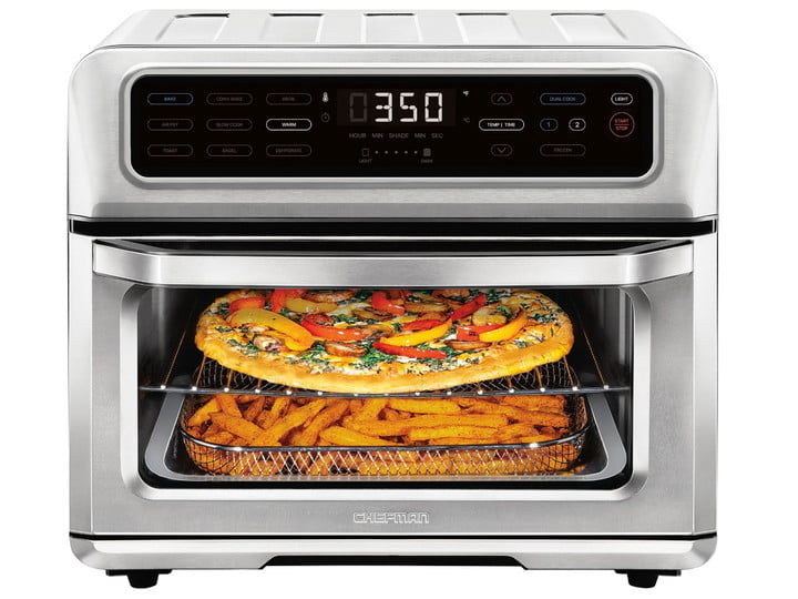 The Chefman Toast-Air cooking pizza and fries at the same time.