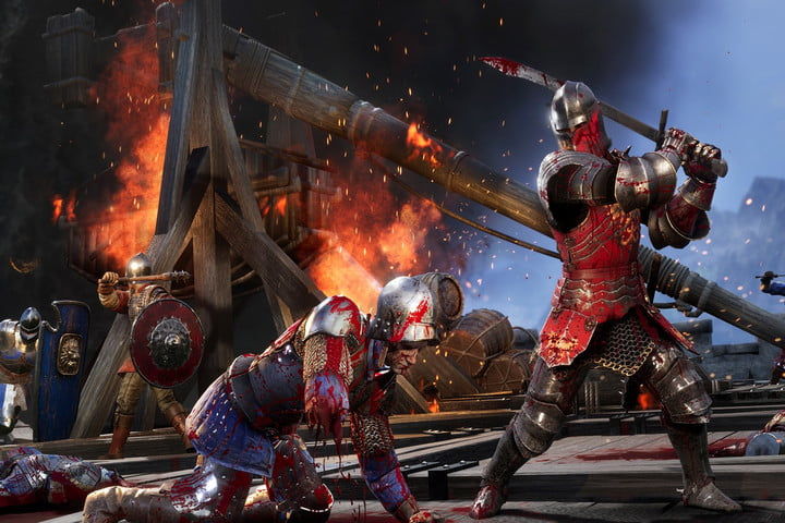 A knight about to kill another player in Chivalry 2.
