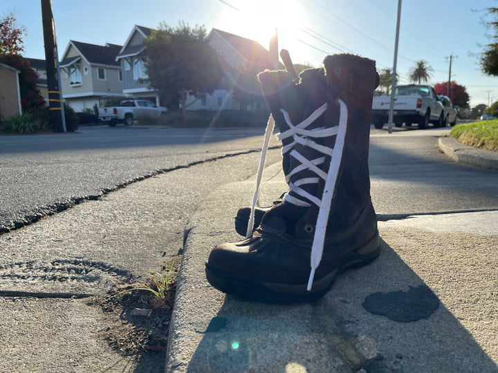 A photo of a boot captured on the iPhone 12 Pro.