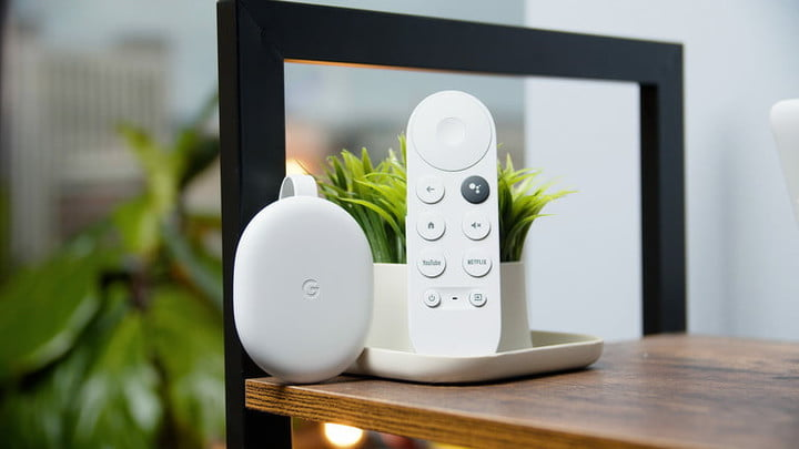 Google Chromecast with Google TV displayed on a mantle.
