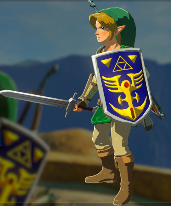 Link standing with a sword and shield.