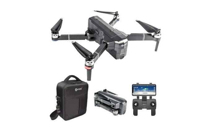 Contixo F24 4K UHD Drone Bundle with Accessories on white background.