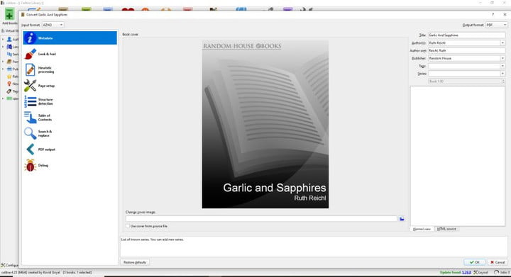 Converting a Kindle book to PDF in Calibre.