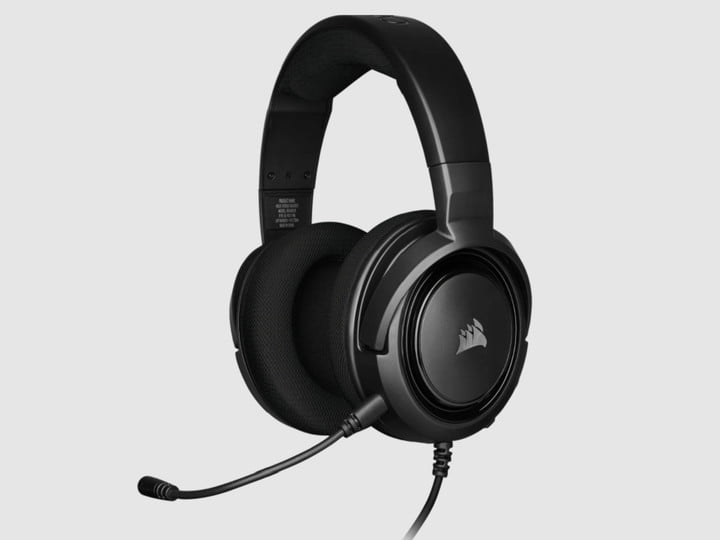 A black Corsair gaming headset with a microphone.