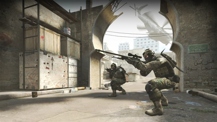 A sniper lines up a shot in Counter-Strike: Global Offensive.