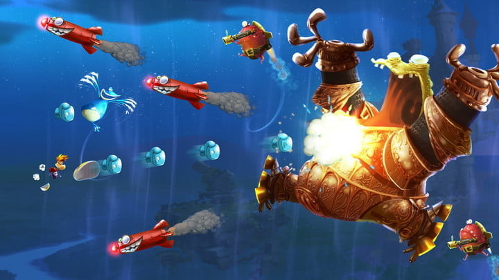 Rayman fighting a boss shooting missiles underwater.