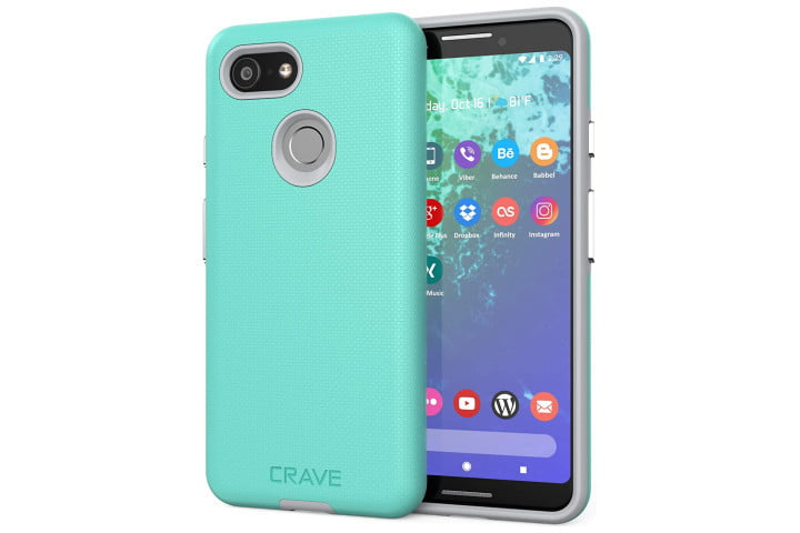 Mint and grey colored Crave DualGuard Protection Series Case for Google Pixel 3.
