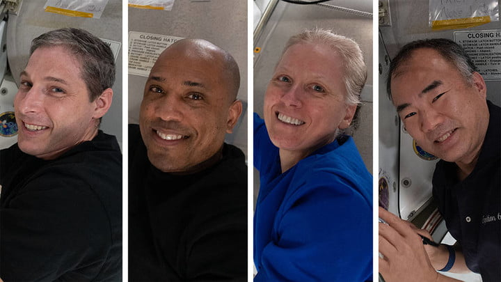 Clockwise from bottom right are Expedition 64 Flight Engineers and SpaceX Crew-1 members Michael Hopkins, Victor Glover, Shannon Walker and Soichi Noguchi.