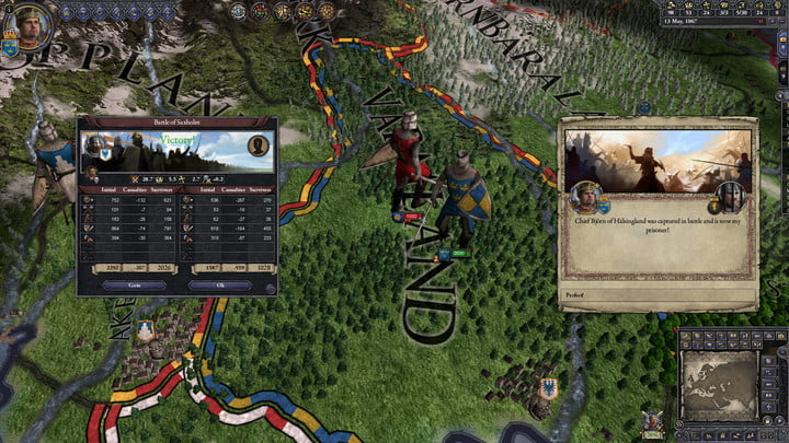 A busy battle map in Crusader Kings II.