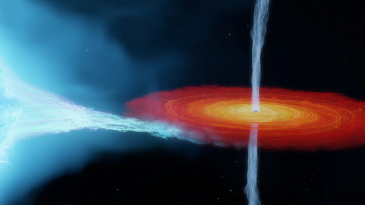 An artist's impression of the Cygnus X-1 system. This system contains the most massive stellar-mass black hole ever detected without the use of gravitational waves, weighing in at 21 times the mass of the Sun.