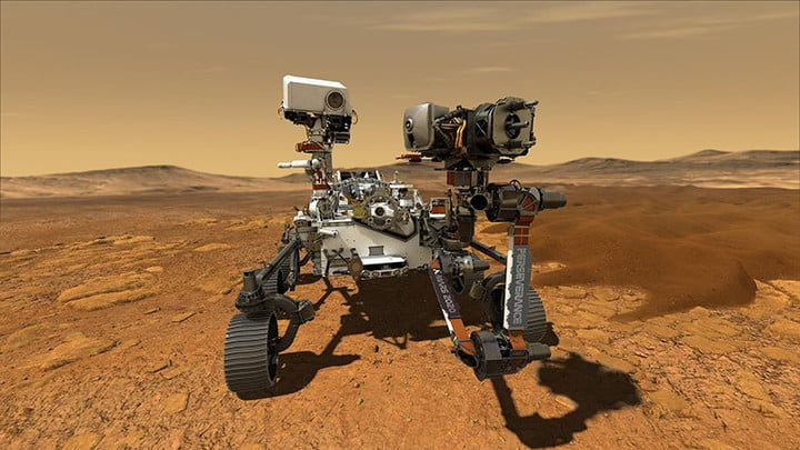 An illustration of NASA's Perseverance rover, which is due to land on Mars in February 2021.