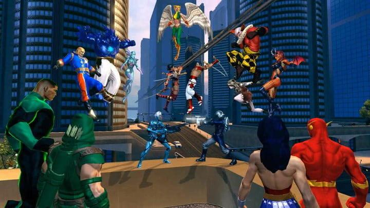 Superheroes fight in the street in DC Universe Online.