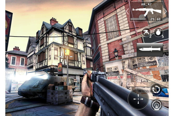 Dead Trigger 2 game on Android shooting zombies.