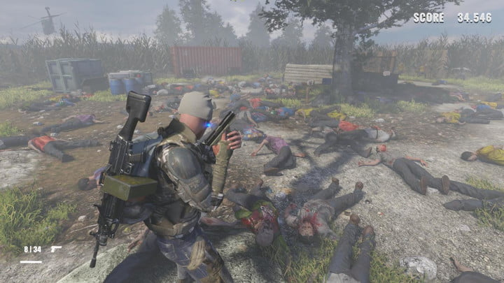 A man standing alone in a pile of dead zombies