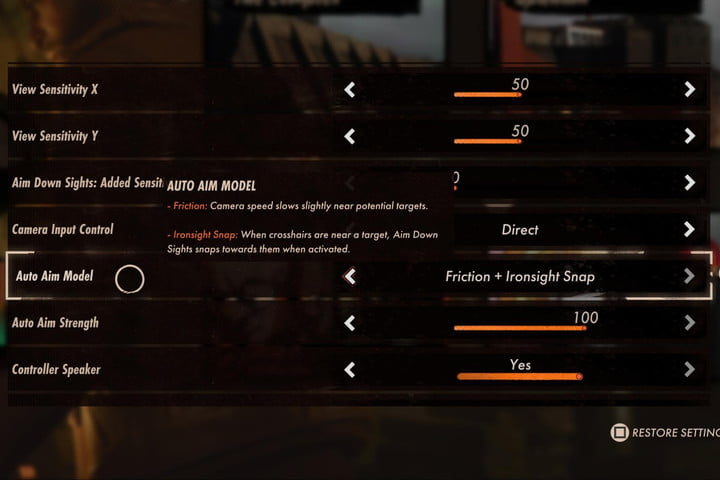 The aim-assist option in Deathloop set to friction and ironsight snap.