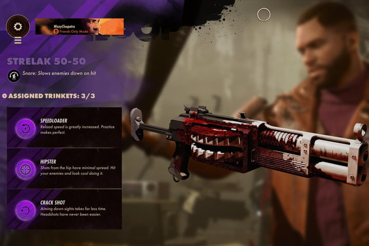 A shotgun in Deathloop equipped with the best Trinkets.