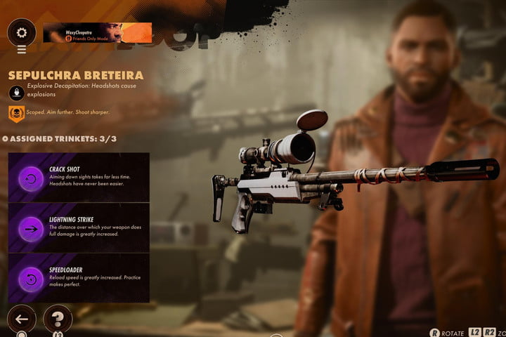 The sniper rifle from Deathloop with Trinkets.