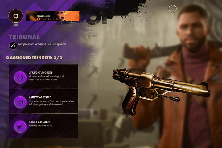 The Tribunal pistol from Deathloop with the best Trinkets.