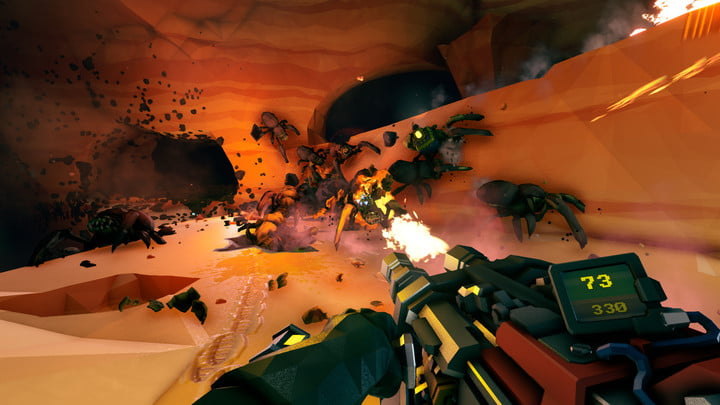 A character shooting a swarm of bugs.