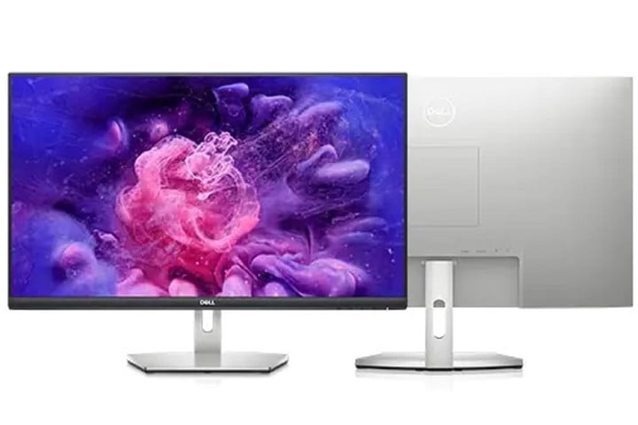 Two Dell 27 monitors next to each other with one facing forward and the other facing backward.