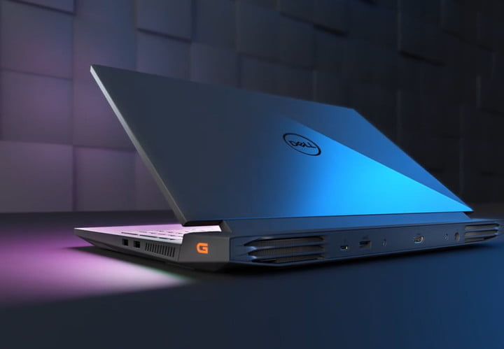 The Dell G15 Gaming Laptop lit up at night.