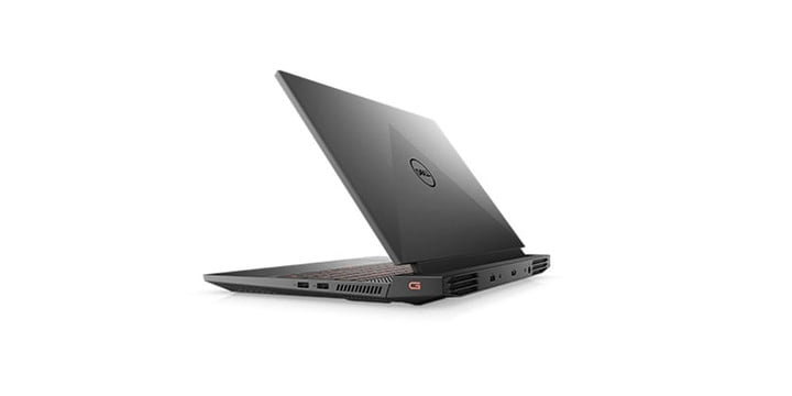Dell G15 gaming laptop from a side angle on a white background.
